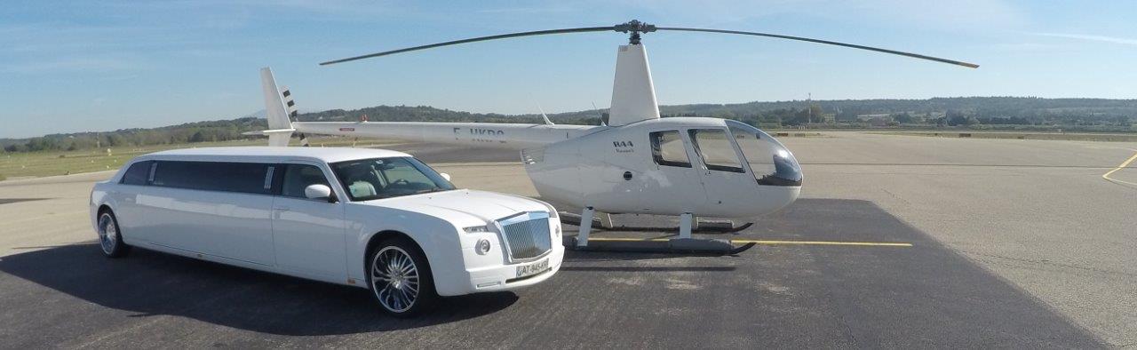 photo de profil d'un hélicoptère et limousine