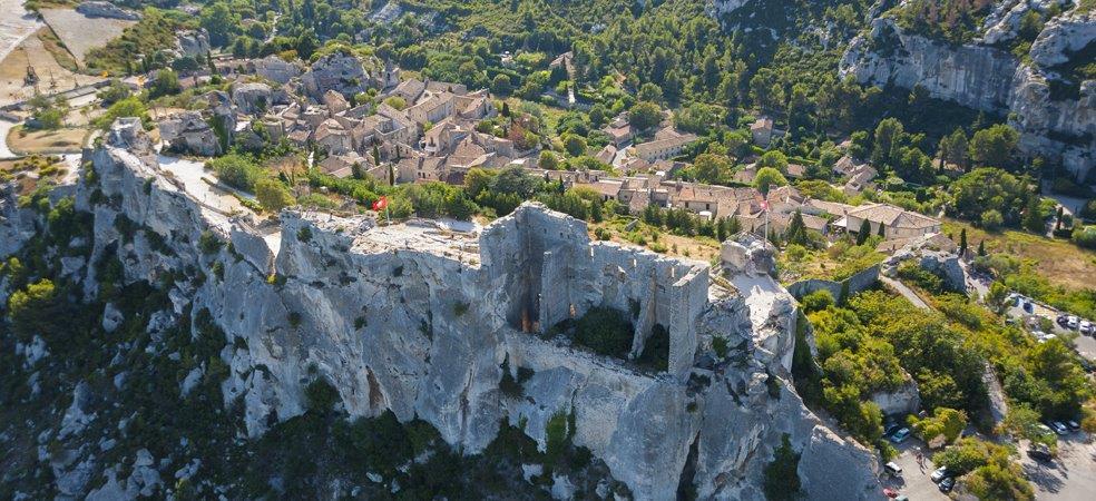 Vu Aérienne du Château des Baux de Provence dans les Alpilles